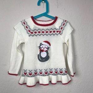 Little Lass Baby Dress Sweater Christmas Cat Sz 4